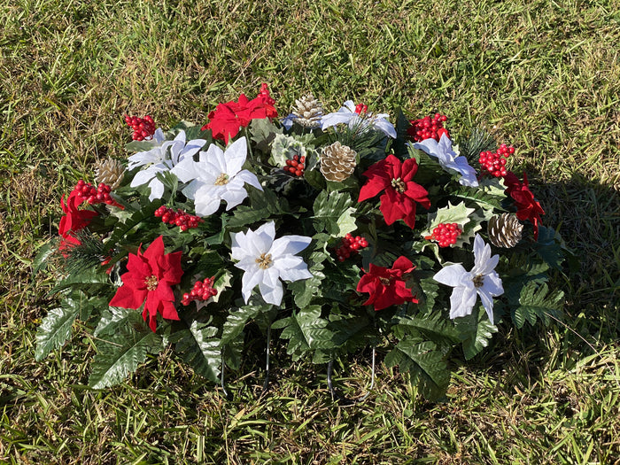 Deluxe Christmas Red & White Poinsettias Cemetery Saddle Arrangement