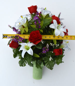 Deluxe Spring Lilies and Red Roses Cemetery Vase Arrangement-Spring Memorial Flowers-Ellis Home & Garden