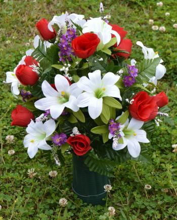 Deluxe Spring Lilies and Red Roses Cemetery Vase Arrangement