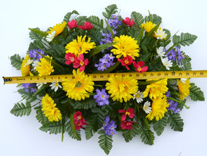 Deluxe Spring Yellow Daisy Mix Cemetery Saddle Arrangement-Spring Memorial Flowers-Ellis Home & Garden