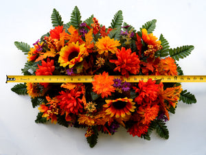 Deluxe Vibrant Autumn Mix Cemetery Saddle Arrangement-Fall Memorial Flowers-Ellis Home & Garden