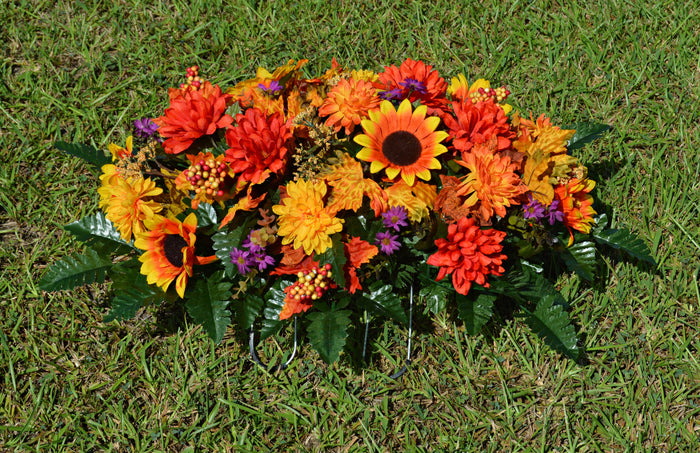 Deluxe Vibrant Autumn Mix Cemetery Saddle Arrangement