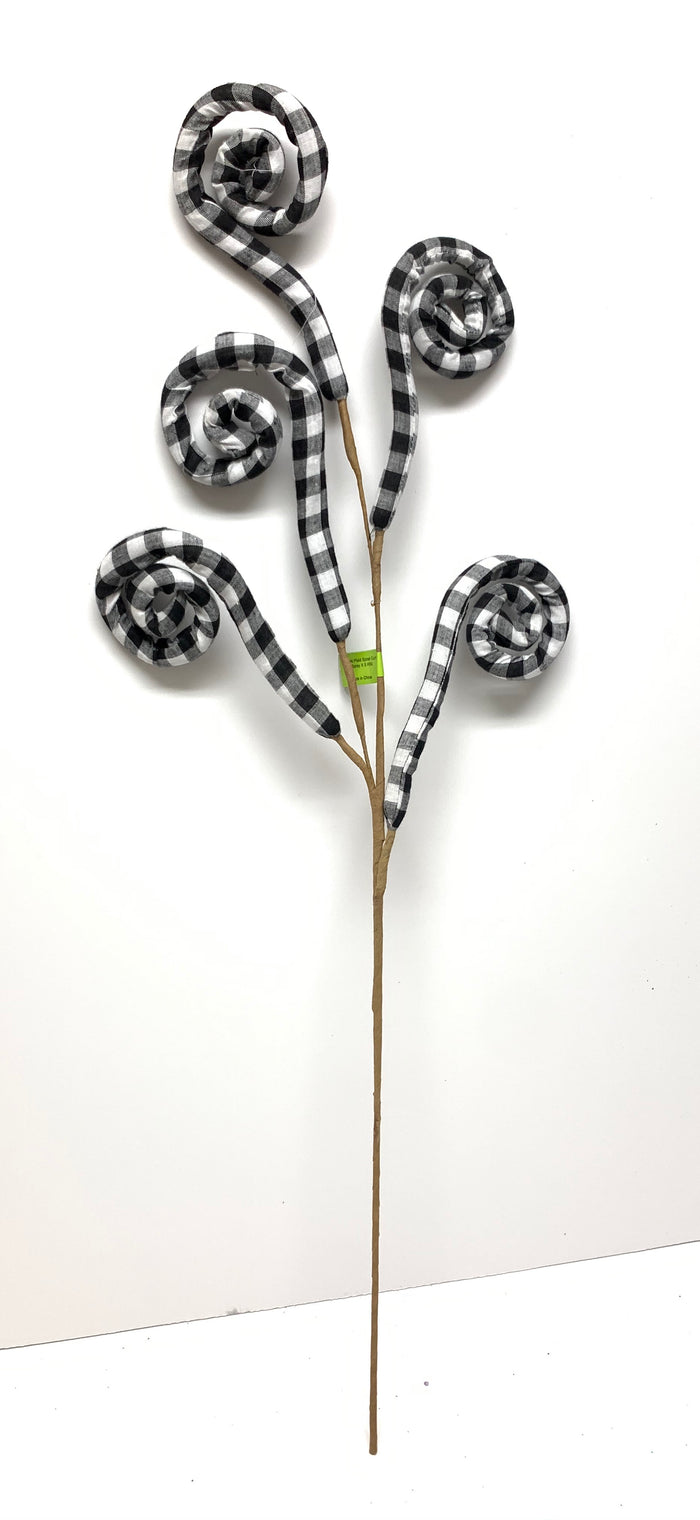 Black & White Buffalo Plaid Curly Floral Stem