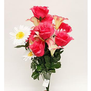 Pink Rose, Gerbera & Tiger Lily Mixed Spring Floral Bush-Spring Bushes-Ellis Home & Garden