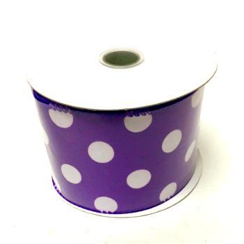 Purple and White Polka Dot Satin Wired Ribbon
