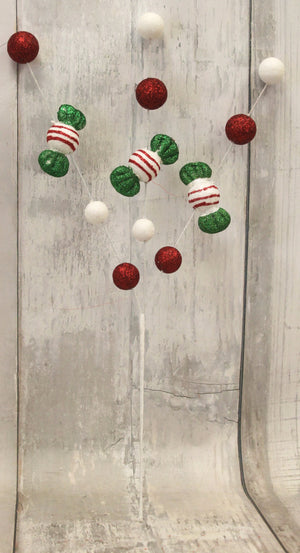 Red, White, & Lime Green Christmas Candy Spray-Christmas Floral-Ellis Home & Garden