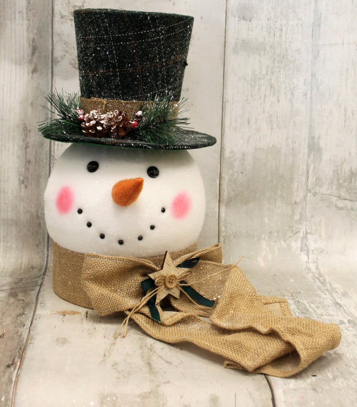 Rustic Woodland Snowman Tree Topper
