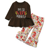 Baby/ Toddler Girl  Thankful Letter Print Top and Bellbottom Pants Set
