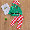 3-piece Baby Christmas Letter Print Bodysuit, Striped Pants and Hat with Headband Set
