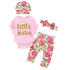 4-piece Baby LITTLE SISTER Bodysuit and Floral Pants with Headband and Hat Set