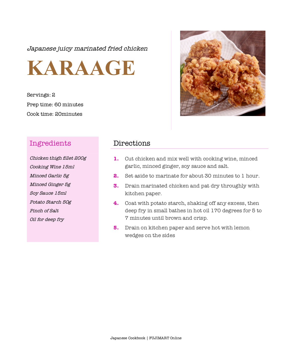 Japanese Cookbook Karaage Chicken Recipe | FUJIMART Online