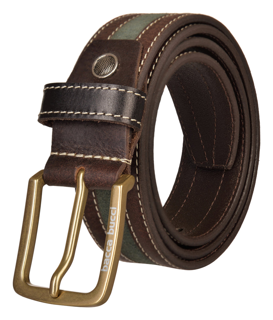 Bacca Bucci Genuine leather Casual Jeans belt 35 MM wide 4 MM thick - Bacca Bucci
