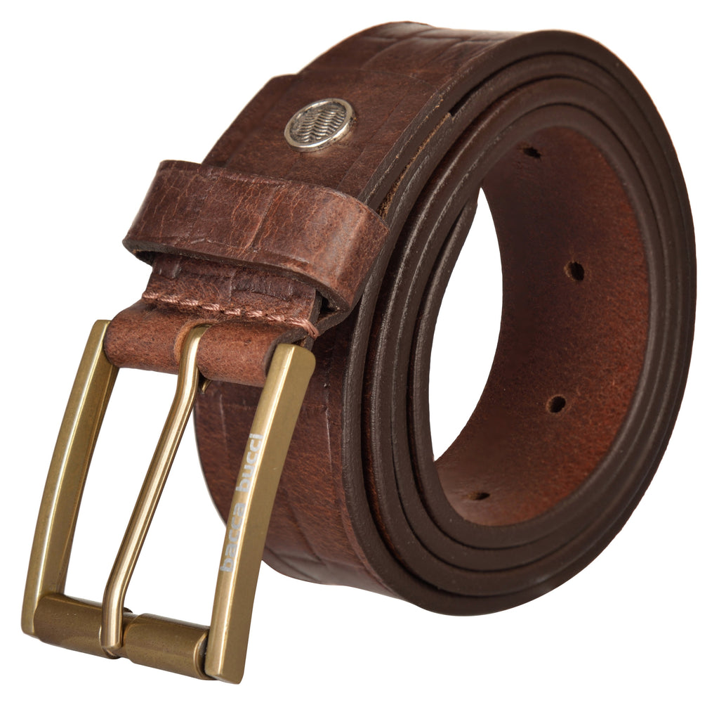 Bacca Bucci Genuine Full Grain Leather belt for Casual Wear, With Antique Alloy Buckle. - Bacca Bucci