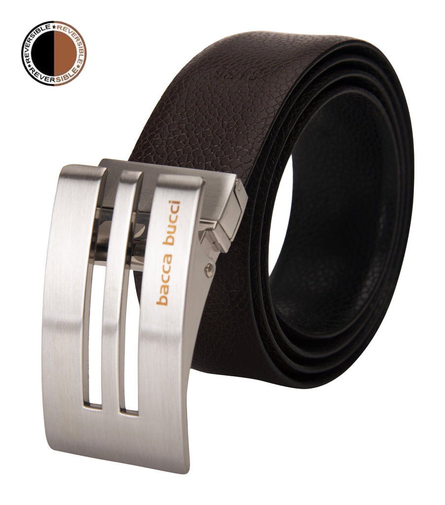 Bacca Bucci reversible classic dress belt Italian Top Grain Genuine leather black & brown - Bacca Bucci
