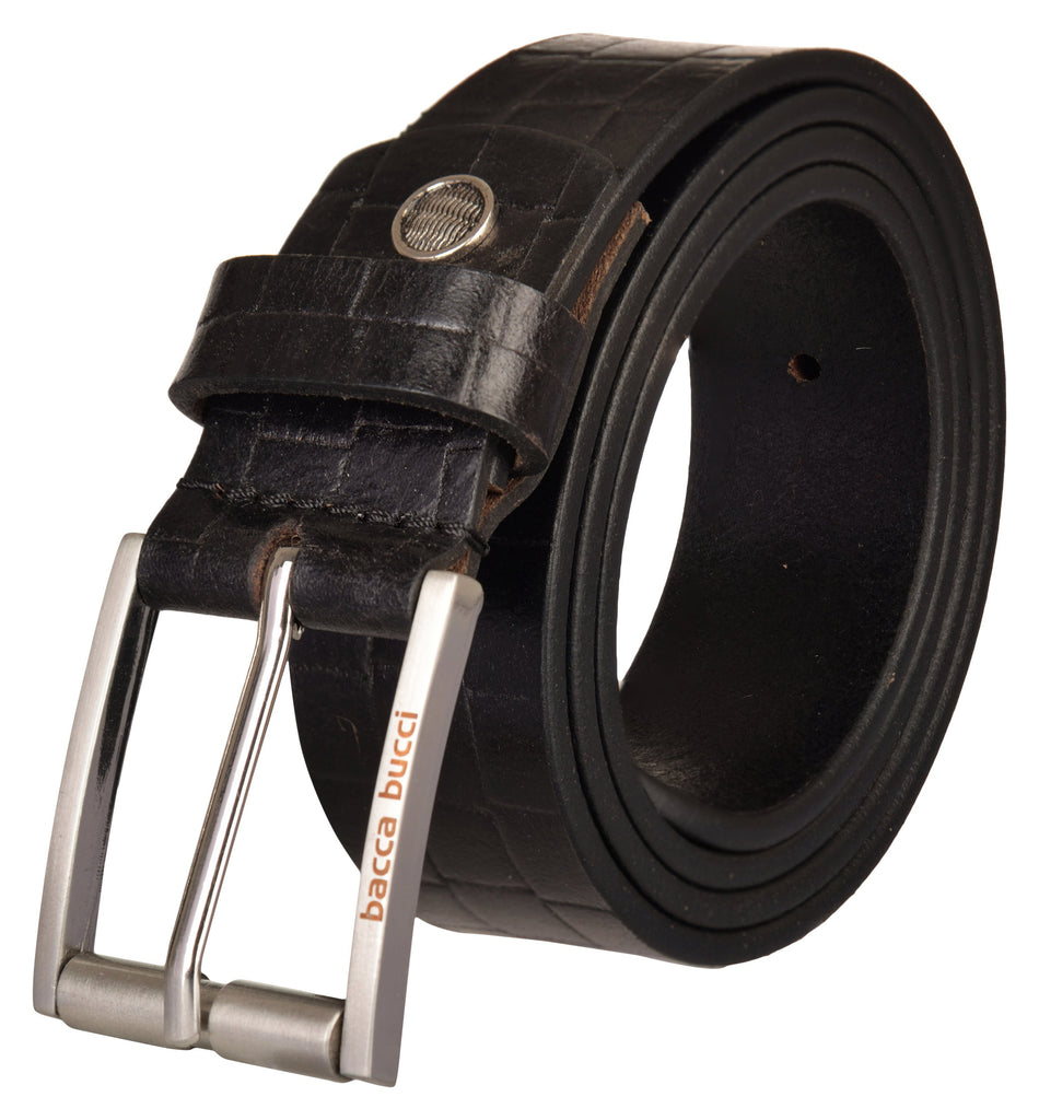 Bacca Bucci Genuine Full Grain Leather belt for Casual Wear, With Antique Alloy Buckle - Bacca Bucci