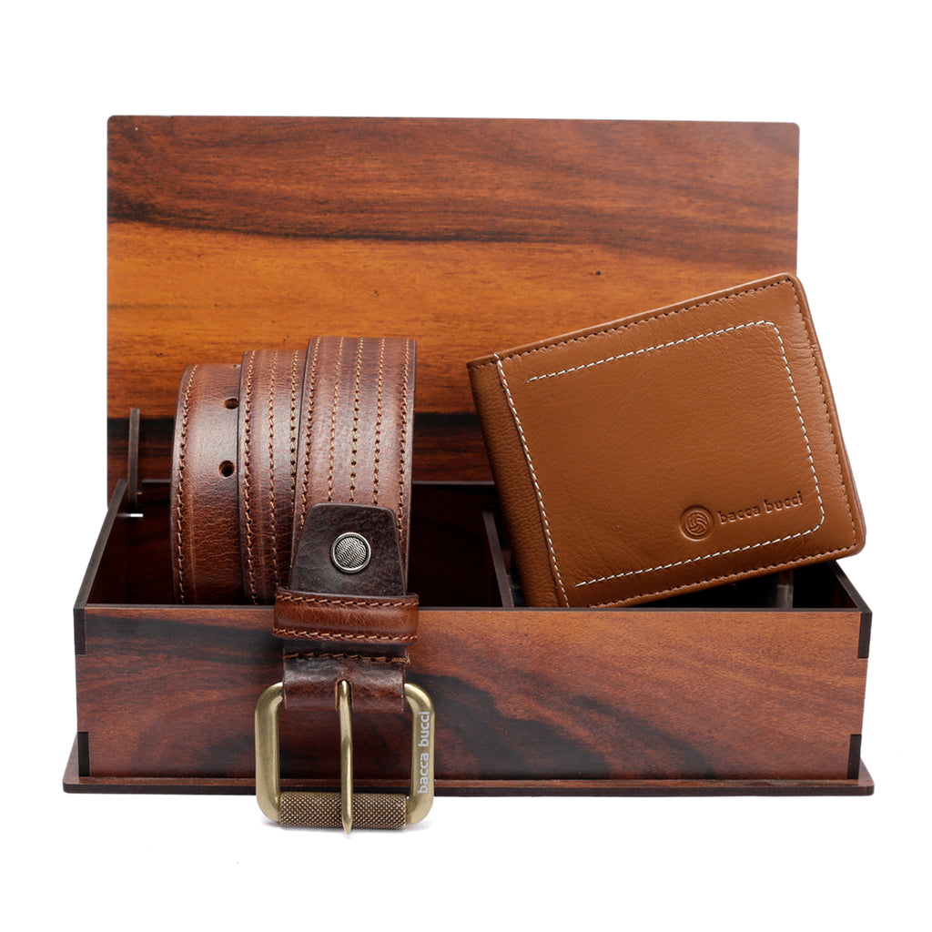 Men's Classic Dress belt with Genuine grain leather & Genuine soft Leather Wallet combo Gift Set for men - Bacca Bucci