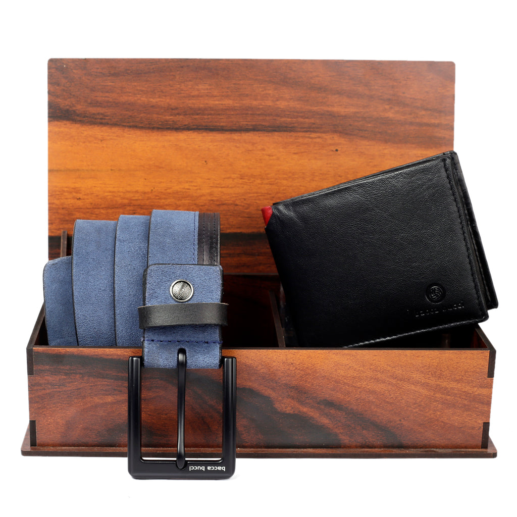 Men's Classic Dress belt with Genuine Suede leather & soft Leather Wallet combo Gift Set for men - Bacca Bucci