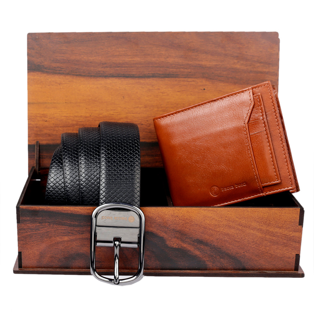 Men's Reversible Classic Dress belt with Italian smooth Genuine leather & Soft RFID Blocking Genuine Leather wallet for men - Bacca Bucci