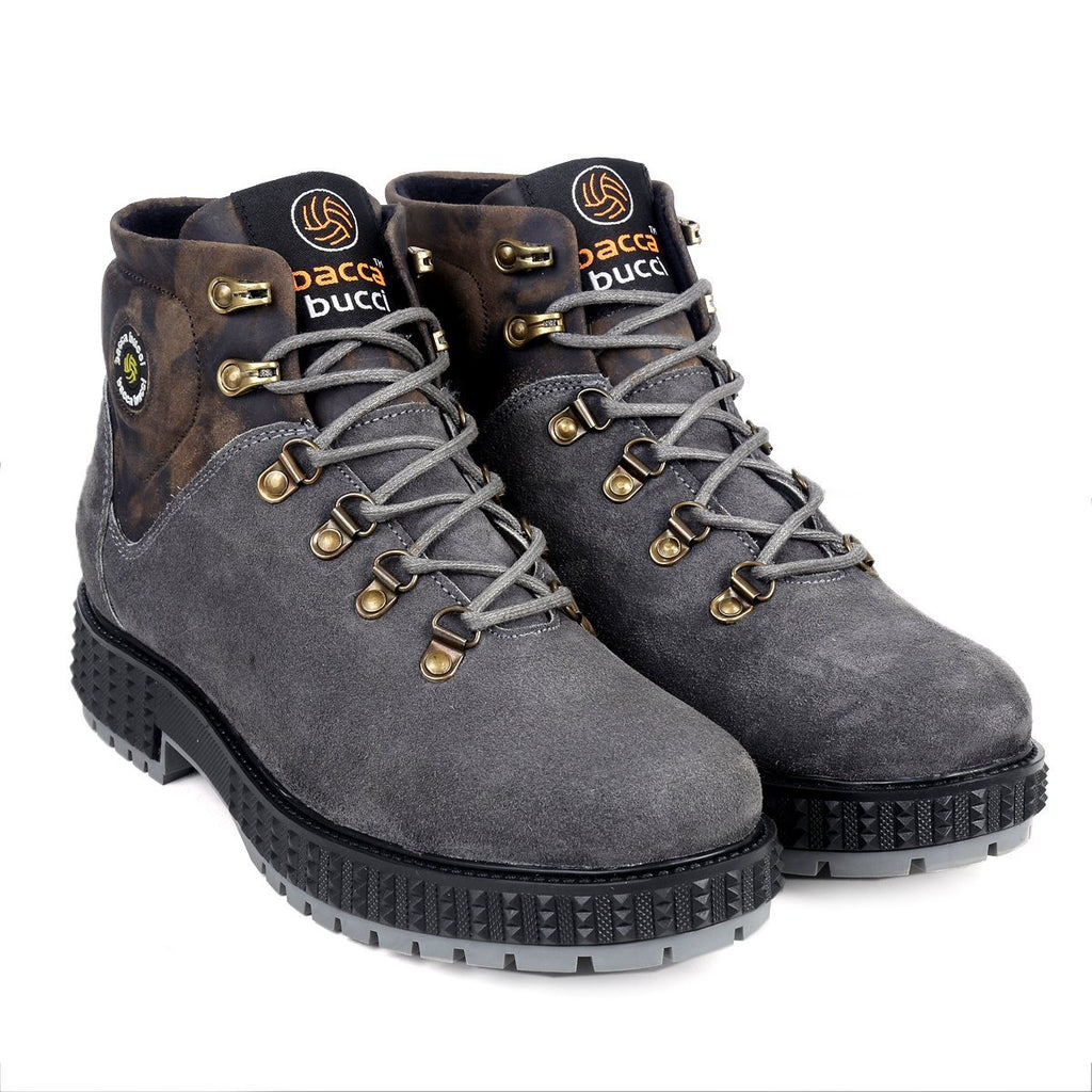 Bacca Bucci Men's Urban Suede Leather Motorcycle Military Tactical Boots - Bacca Bucci