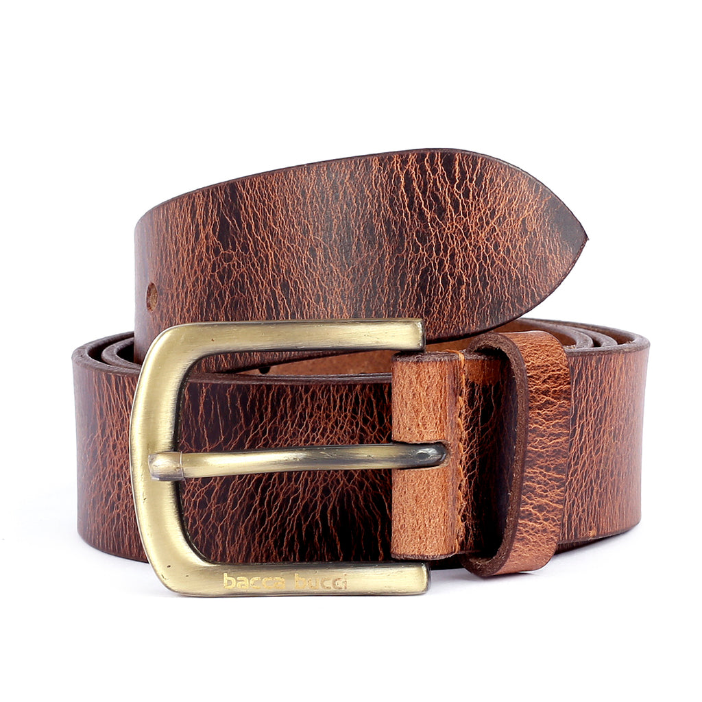 Bacca Bucci Leather Men's Work Belt-Heavy Duty Genuine Full Grain Leather For Jeans - Bacca Bucci