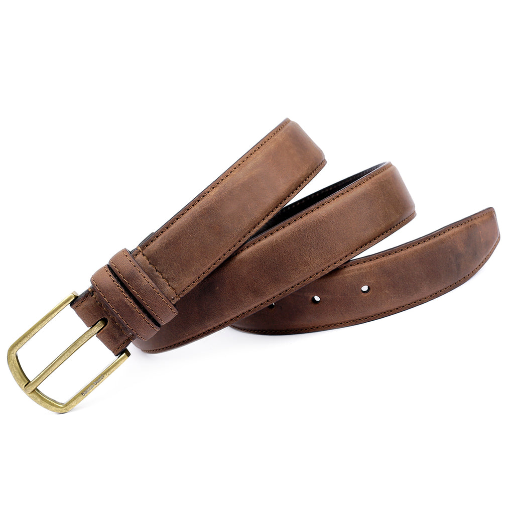 Bacca Bucci Leather Belt -Trinity Style for Jeans & chinos Leather Strap Copper Prong Buckle Belt - Bacca Bucci