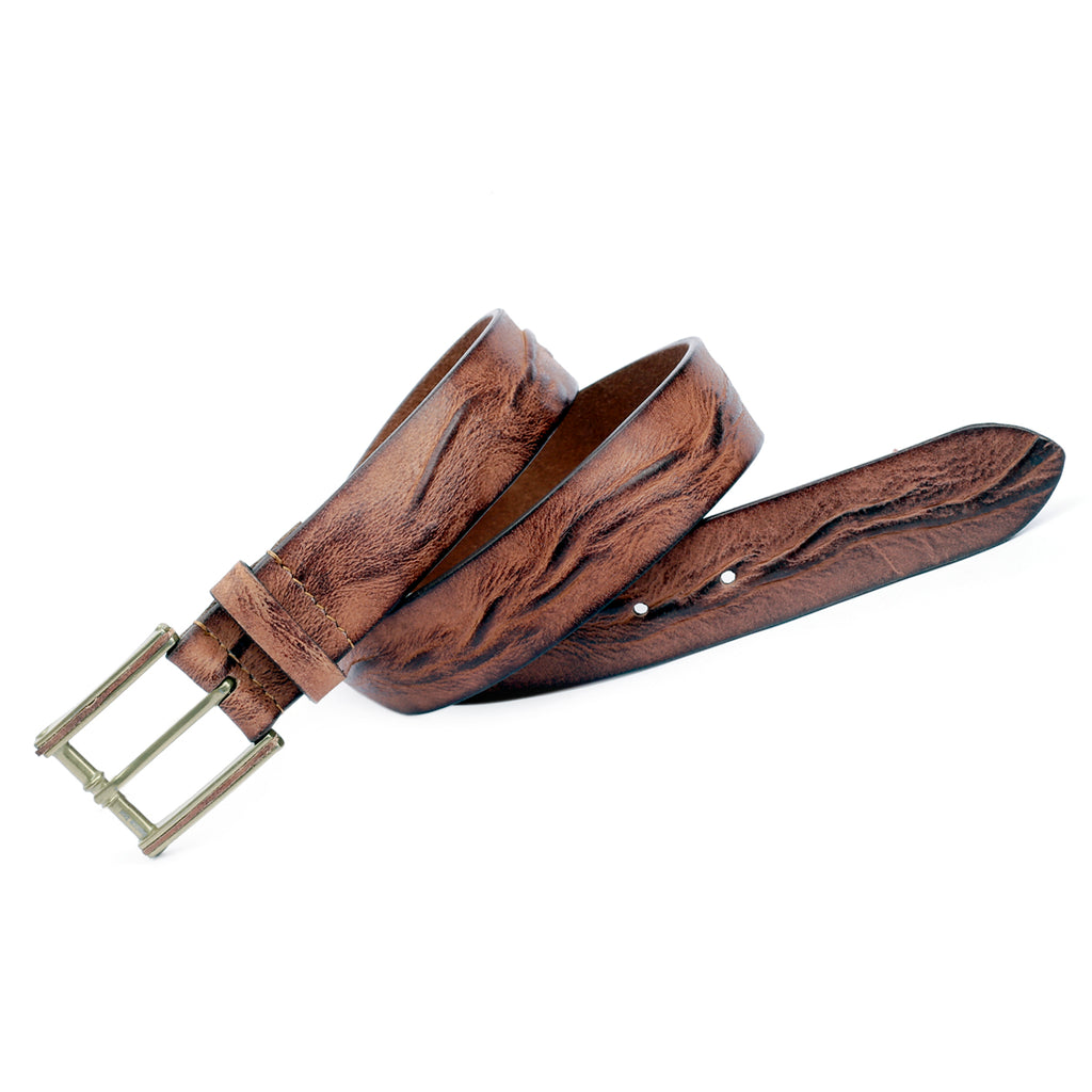 Bacca Bucci Casual Leather Belt -Trinity Style for Jeans chinos Dress with Copper Prong Buckle - Bacca Bucci