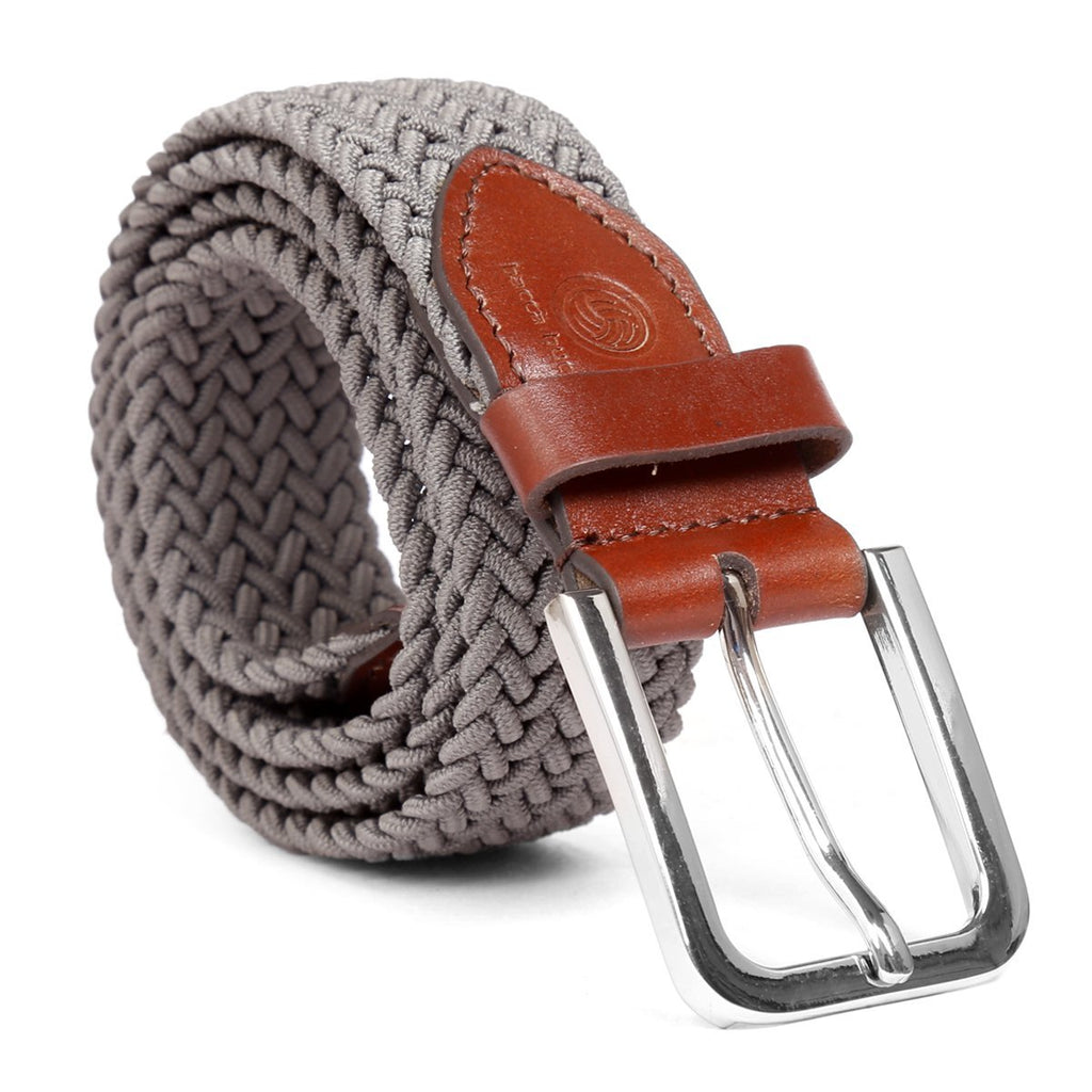 Bacca Bucci Men Elastic Braided Belt Golf Fabric Canvas Woven Stretch Belt with Leather loop Belt - Bacca Bucci