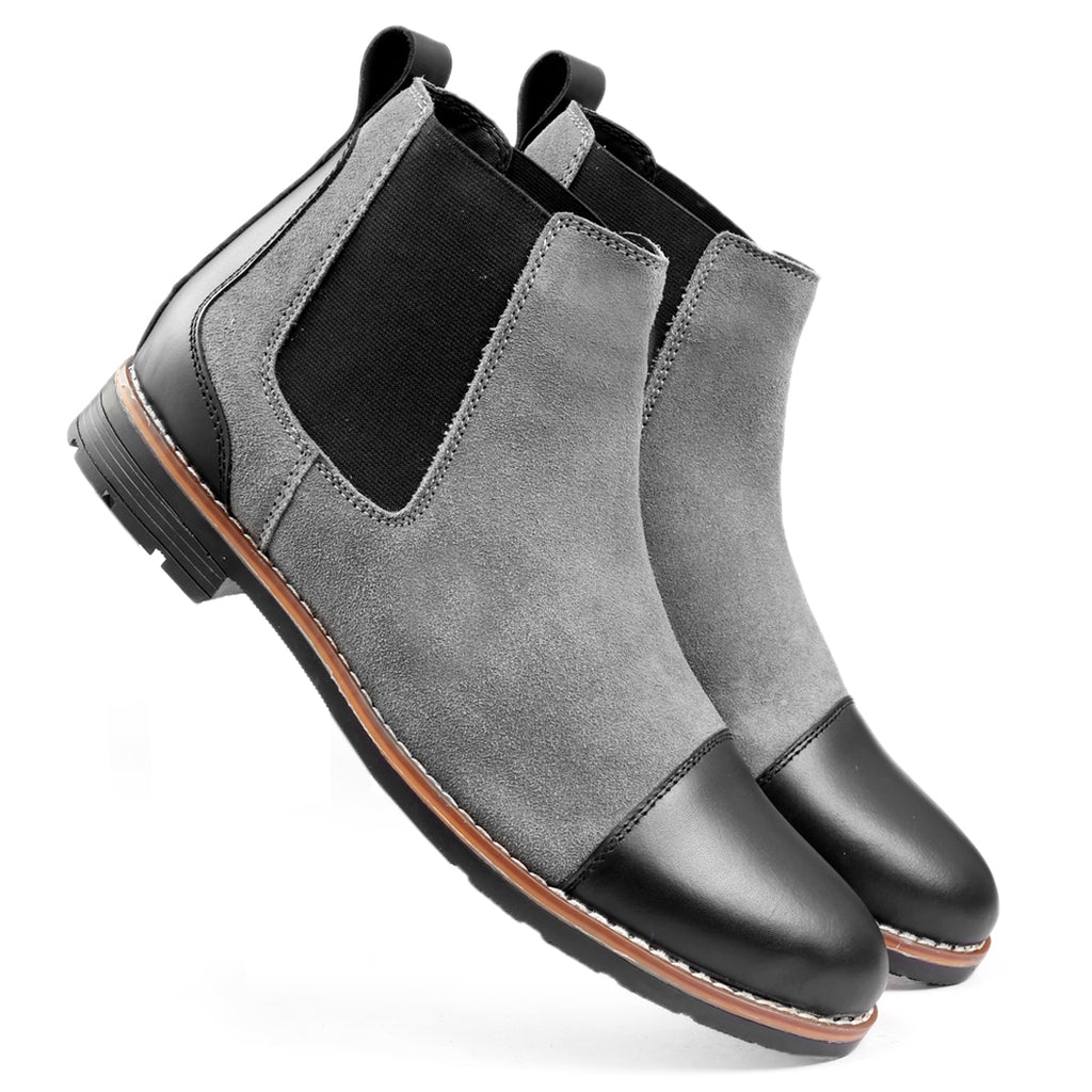Bacca Bucci Chelsea high end Urban Fashion Genuine Smooth Leather Suede Boots - Bacca Bucci