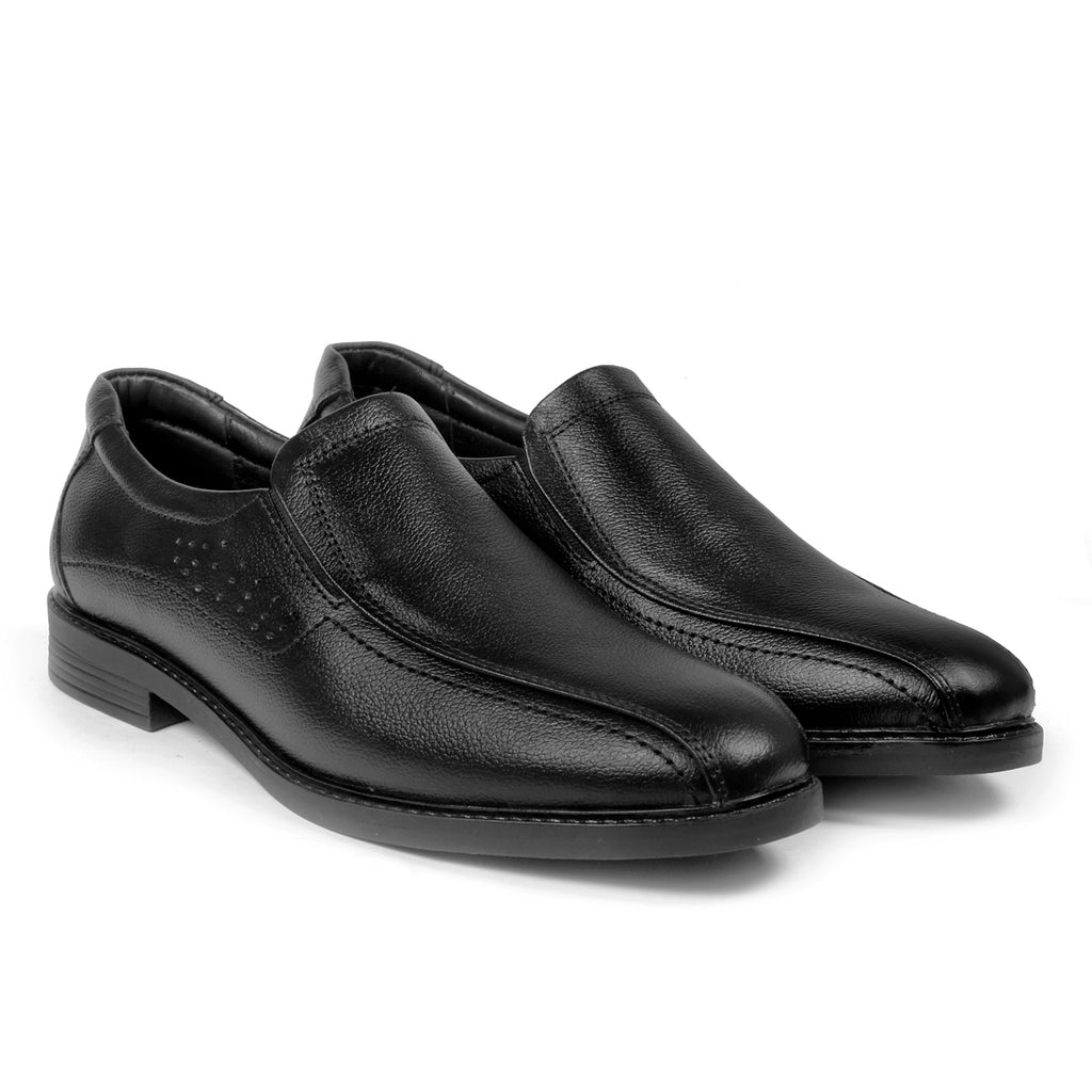 Bacca Bucci Men's Leather Plain Toe Loafer Shoes, Formal Classic Comfortable Business Shoes - Bacca Bucci