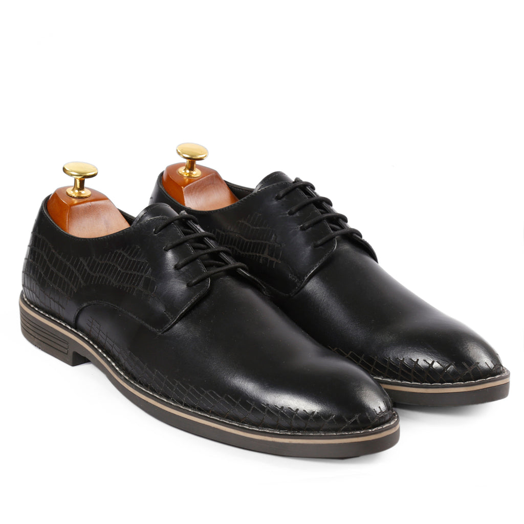Bacca Bucci Men's Handmade Genuine Leather Modern Classic Lace-up Lazer Worked Formal Shoes - Bacca Bucci