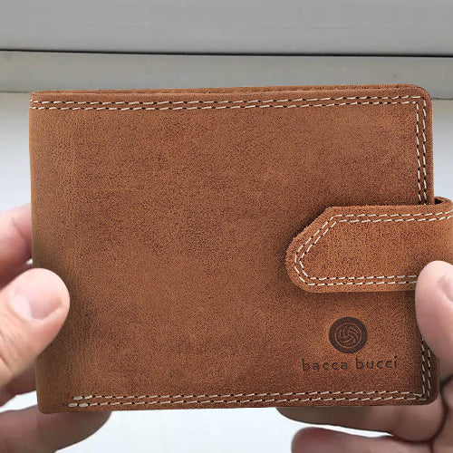 Bacca Bucci RFID blocking bifold wallet genuine naked leather - Bacca Bucci