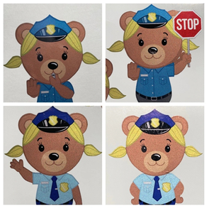 Police Officer Bear Girl Cub Stickers