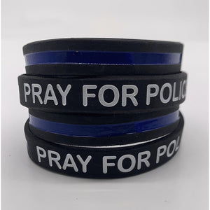 Pray for Police Thin Blue Line Bracelet