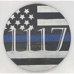 Wooden Thin Blue Line Support Utilities for the Wall