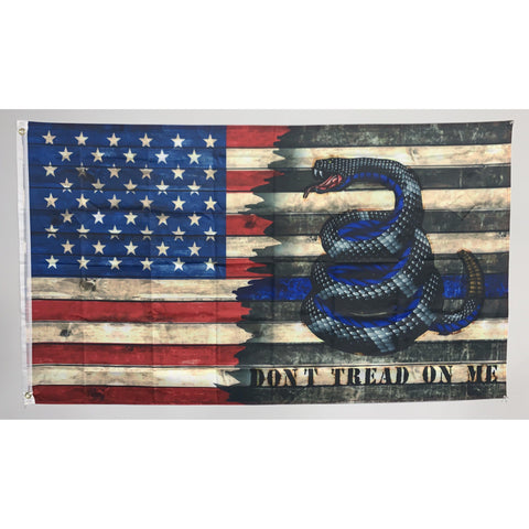 Enough is Enough Don't Tread on Me Gadsden Police Flag-American Flag and Thin Blue Line Flag-Police Brand Memorabilia and Collectibles