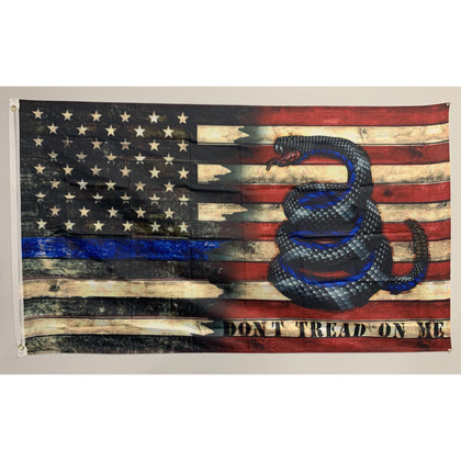 Enough is Enough Don't Tread on Me Gadsden Police Flag-Thin Blue Line American Flag-Police Brand Memorabilia and Collectibles