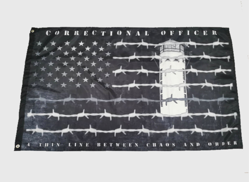 Correctional Officer Thin Gray Line Barbed Wire Flag-Guard Tower