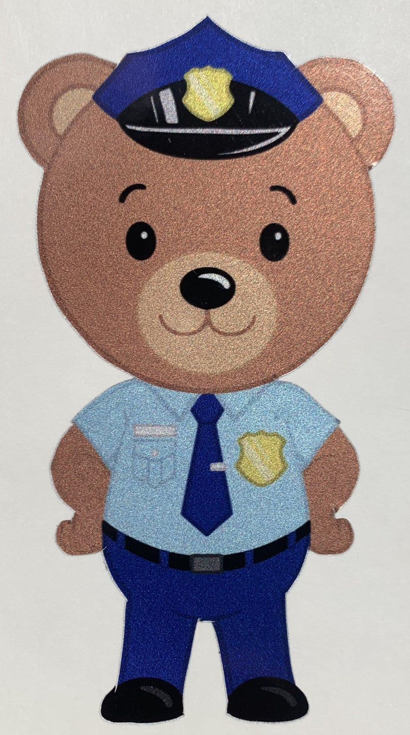 Police Officer Bear Cub Stickers-Police Brand Memorabilia and Collectibles
