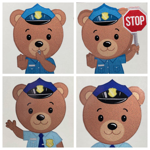 Police Officer Bear Cub Stickers - Police Brand Memorabilia and Collectibles
