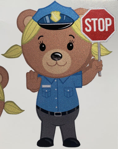 Police Officer Bear Girl Cub Stickers-Police Brand Memorabilia and Collectibles