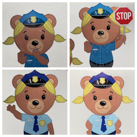 Police Officer Bear Girl Cub Stickers - Police Brand Memorabilia and Collectibles