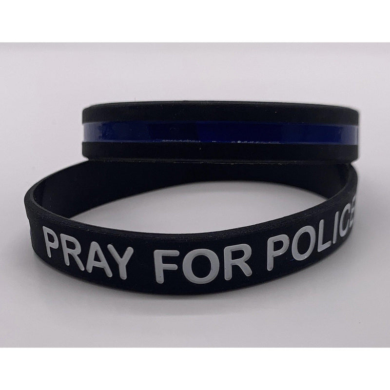 Pray for Police Thin Blue Line Police Bracelet-Police Brand Memorabilia and Collectibles