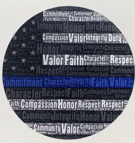 Round Thin Blue Line Word Flag Decal - Police Brand Memorabilia and Collectibles
