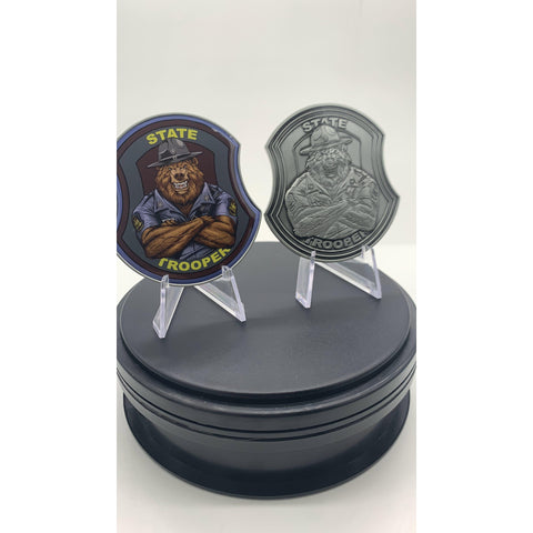 State Trooper Bear Challenge Coin-Police Brand Memorabilia and Collectibles