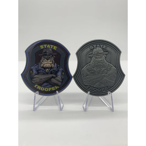State Trooper Bulldog Challenge Coin-Police Brand Memorabilia and Collectibles