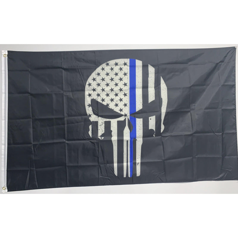 Thin Blue Line Skull Flag-Police Brand Memorabilia and Collectibles
