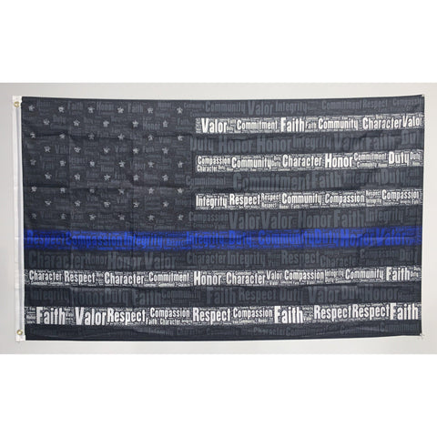 Thin Blue Line Word Flag-Police Brand Memorabilia and Collectibles