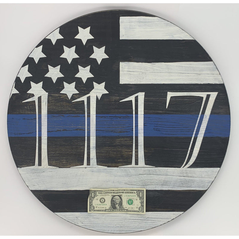 Wooden Thin Blue Line Flag-Your Badge Number-Police Brand Memorabilia and Collectibles