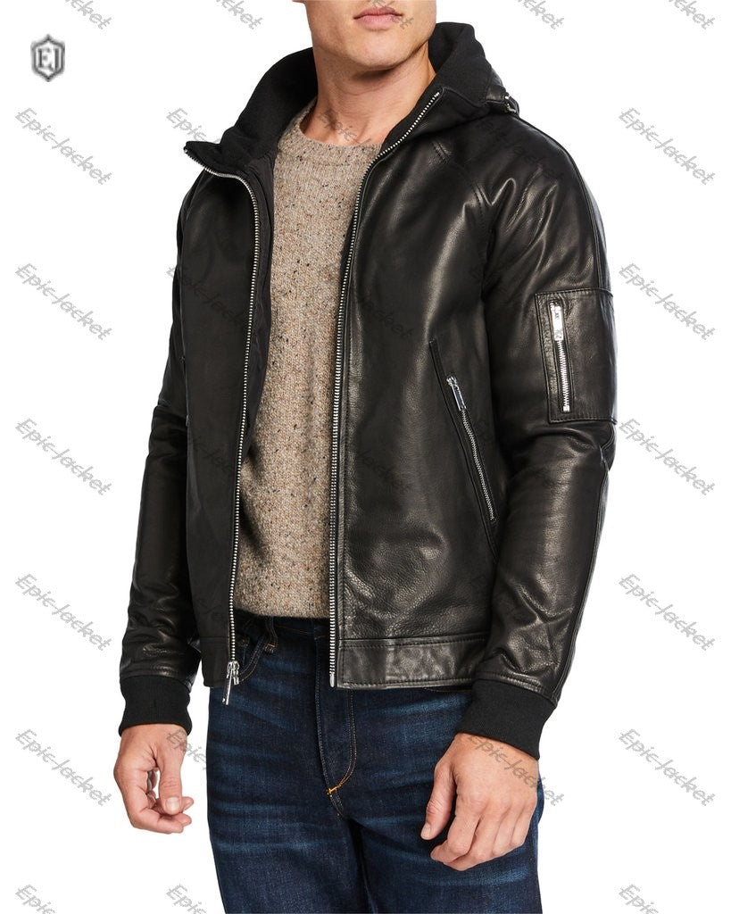 Epic Men's Leather Jacket Packaway Hood