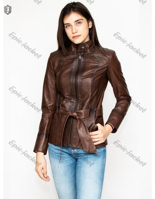 Epic Brown Leather Biker Jacket For Women